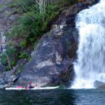 kayaking near waterfall in desolation sound bc